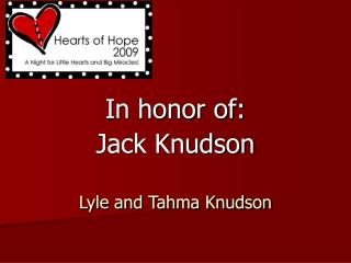 Lyle and Tahma Knudson