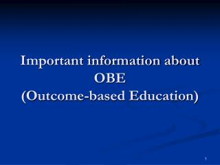 Important information about OBE (Outcome-based Education)