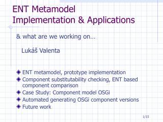 ENT Metamodel Implementation & Applications