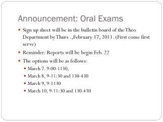 Announcement: Oral Exams