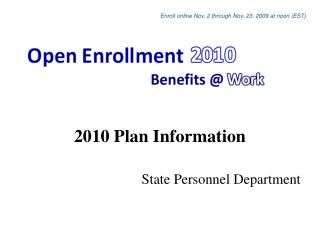 2010 Plan Information State Personnel Department