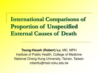 International Comparisons of Proportion of Unspecified External Causes of Death
