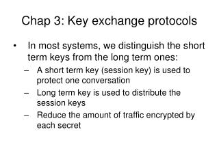 Chap 3: Key exchange protocols