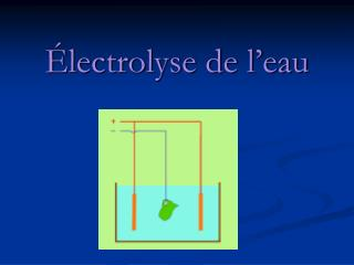 Électrolyse de l'eau