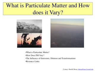 What is Particulate Matter and How does it Vary