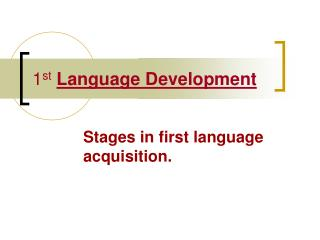 1 st Language Development