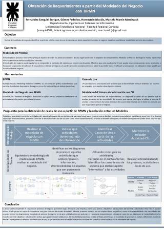 Obtención de Requerimientos a partir del Modelado del Negocio con  BPMN
