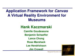 Application Framework for  Canvas  A Virtual Reality Environment for Museums