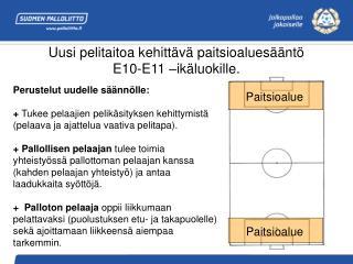 Uusi pelitaitoa kehittävä paitsioaluesääntö  E10-E11 –ikäluokille.