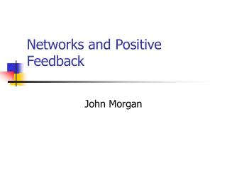 Networks and Positive Feedback