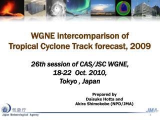 WGNE intercomparison of Tropical Cyclone Track forecast, 2009