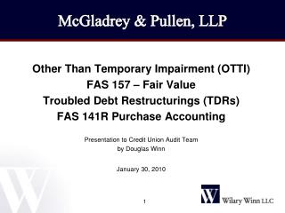 Other Than Temporary Impairment (OTTI) FAS 157 – Fair Value Troubled Debt Restructurings (TDRs)