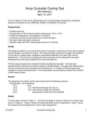 Array Controller Cooling Test Bill Hoffmann April 12, 2011
