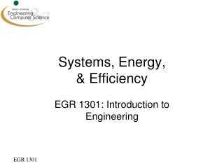 Systems, Energy,  & Efficiency