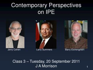 Contemporary Perspectives on IPE