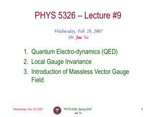 PHYS 5326 – Lecture #9