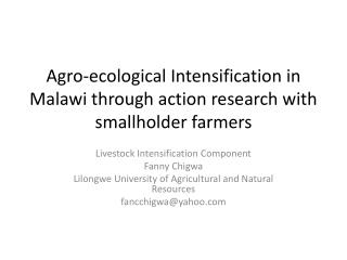 Agro-ecological Intensification in Malawi through action research with smallholder farmers