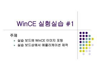 WinCE  실험실습  #1