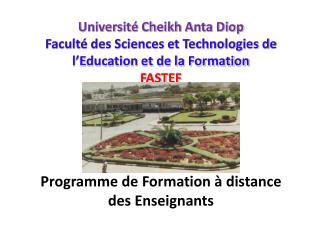 Programme de Formation � distance des Enseignants