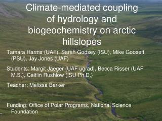 Climate-mediated coupling of hydrology and biogeochemistry on arctic hillslopes