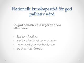 Nationellt kunskapsstöd för god palliativ vård