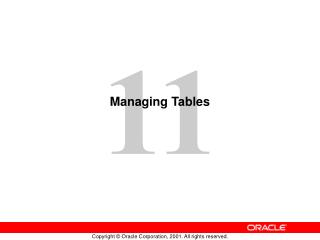 Managing Tables