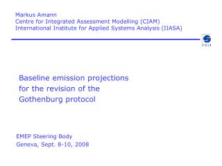 Baseline emission projections  for the revision of the  Gothenburg protocol