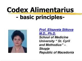 Codex Alimentarius - basic principles-