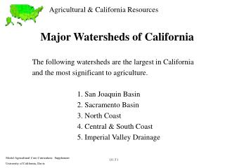 Major Watersheds of California