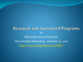 Research and Sponsored Programs