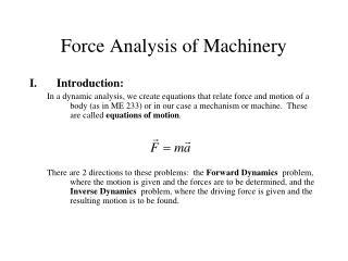 Force Analysis of Machinery