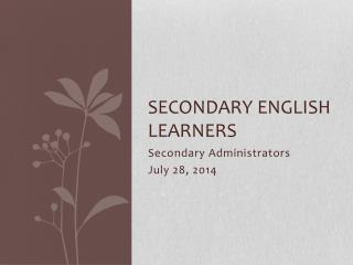 Secondary English Learners