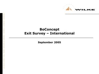 BoConcept Exit Survey – International