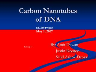 Carbon Nanotubes of DNA