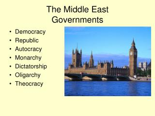 The Middle East  Governments