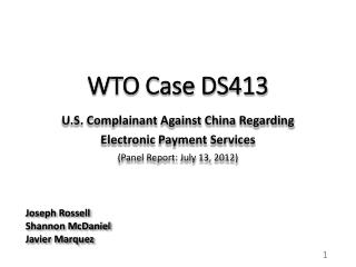 WTO Case DS413