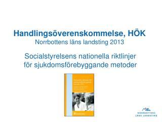 Handlingsöverenskommelse, HÖK  Norrbottens läns landsting 2013