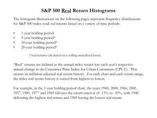 S&P 500  Real  Return Histograms
