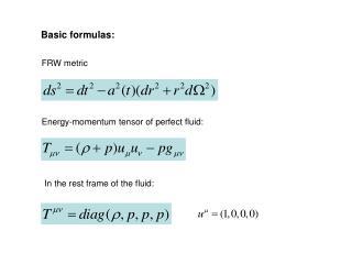 Basic formulas: