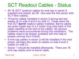 SCT Readout Cables - Status
