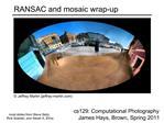 RANSAC and mosaic wrap-up