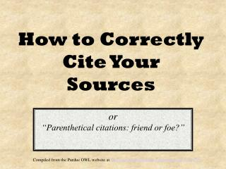 How to Correctly Cite Your Sources