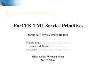 ForCES  TML Service Primitives