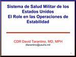 Sistema de Salud Militar de los Estados Unidos El Role en las Operaciones de Estabilidad