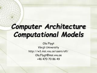 Computer Architecture Computational Models
