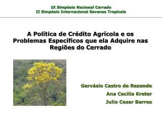 IX Simpósio Nacional Cerrado II Simpósio Internacional Savanas Tropicais