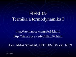 FIFEI-0 9 Termika a termodynamika I