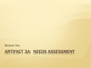 Artifact 3A:  Needs  Assessment