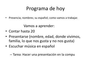 Programa de hoy