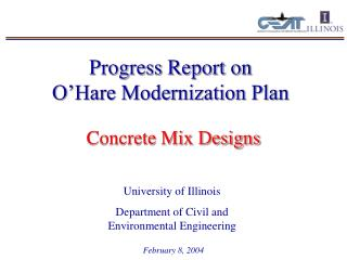 Progress Report on         O'Hare Modernization Plan